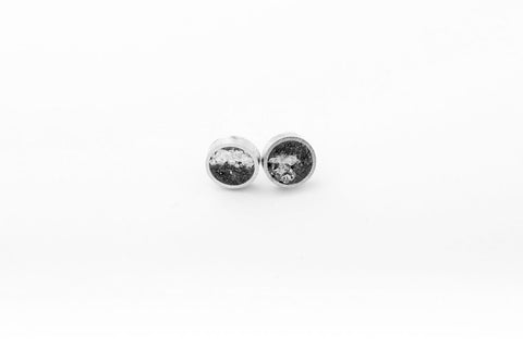 Concrete Aluminum Earrings - Small Stud - Silver