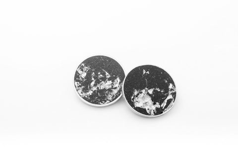 Concrete Aluminum Earrings - X Large Stud - Silver