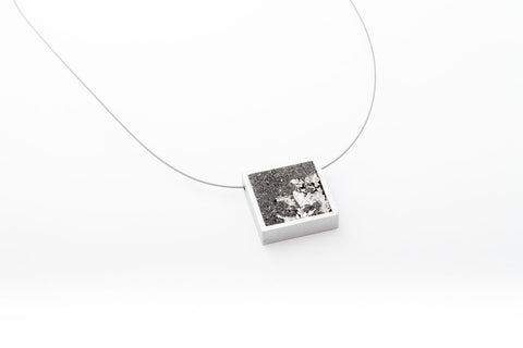Concrete Aluminum Necklace - Square - Medium - Silver