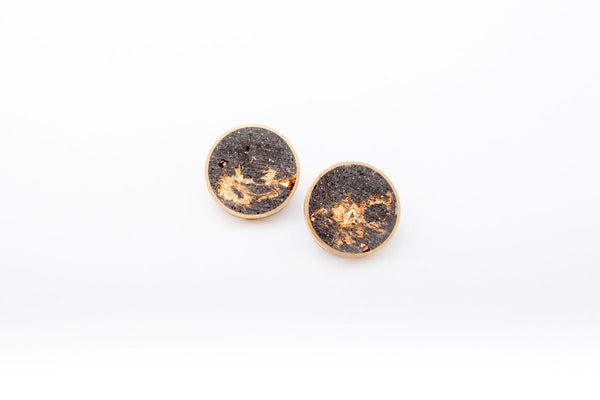 Concrete Brass Earrings - Large Stud - Gold
