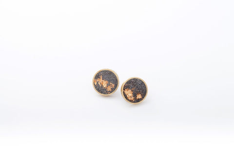 Concrete Brass Earrings - Medium Stud - Gold