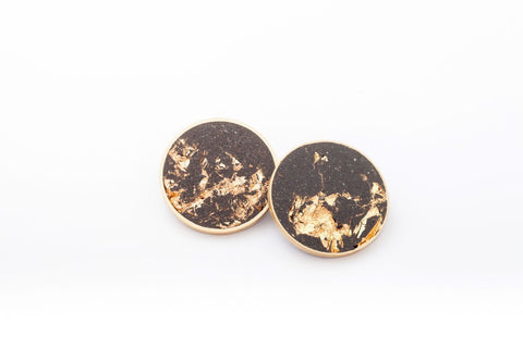 Concrete Brass Earrings - X Large Stud - Gold