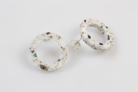 Corian Open Circle Earrings - Terrazzo