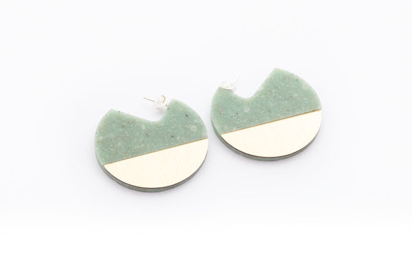 Corian Segment Earrings  - Jade