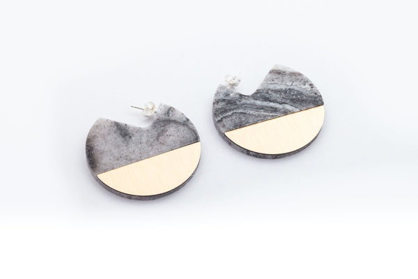 Corian Segment Earrings  - Marble