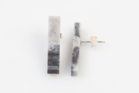Corian Stick Earrings - Marble