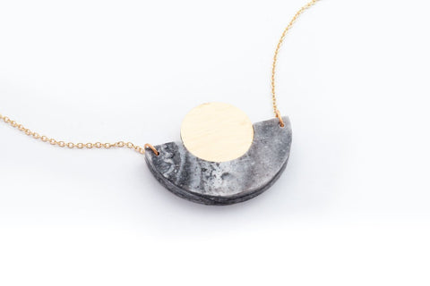 Corian Arc Circle Necklace - Marble