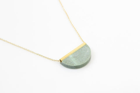 Corian Half Circle Necklace - Jade