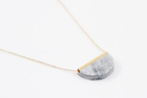 Corian Half Circle Necklace - Marble
