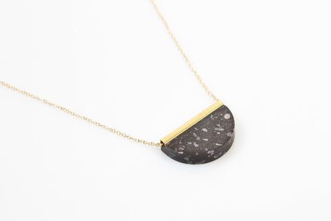 Corian Half Circle Necklace - Midnight