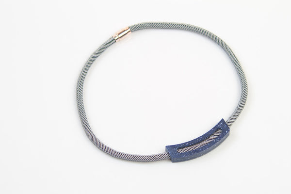 Corian Rope Arc Necklace - Gray - Cobalt