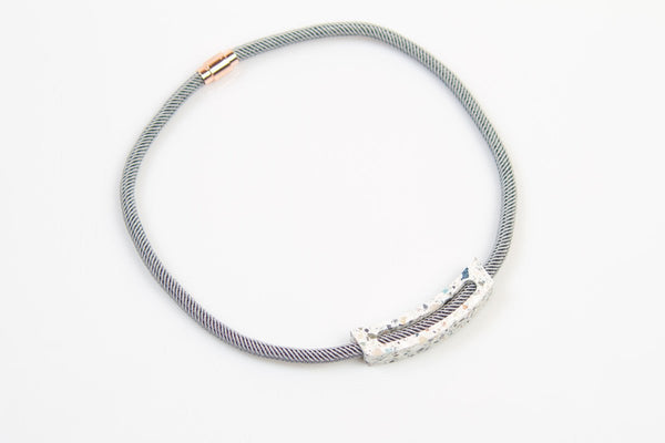 Corian Rope Arc Necklace - Gray - Terrazzo