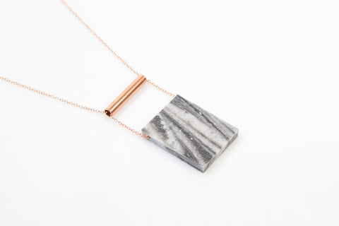 Corian Rectangle Necklace  - Marble
