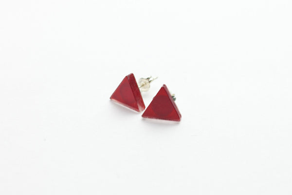 Cranberry Stud Earrings - Triangle