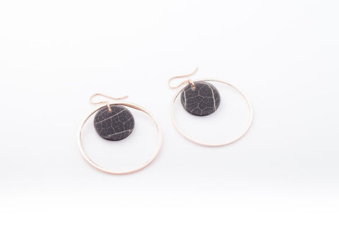 Fossil Leaf Indigo Earrings - Double Circle