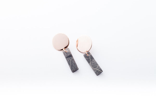 Fossil Leaf Indigo Earrings - Drop Circle