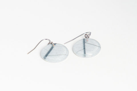Fossil Leaf White Earrings - Circle