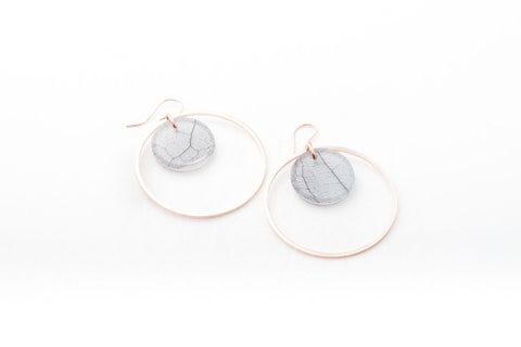 Fossil Leaf White Earrings - Double Circle