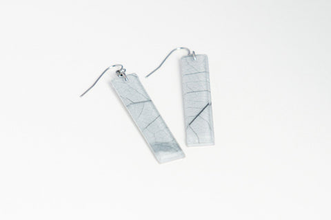 Fossil Leaf White Earrings - Long