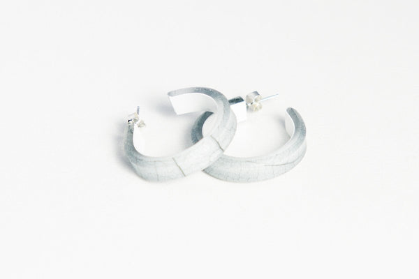 Fossil Leaf White Hoop Earrings - Small