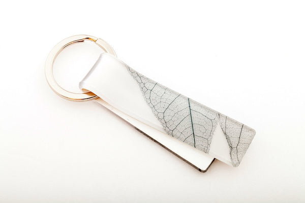 Fossil Leaf White Key Chain