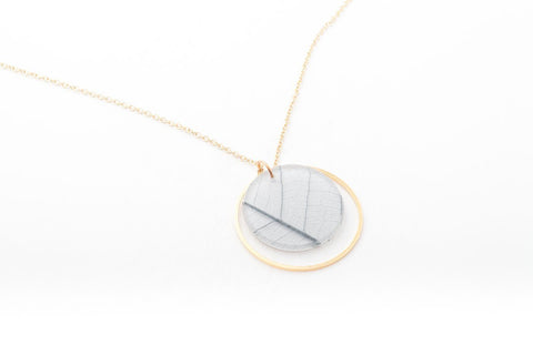 Fossil Leaf White Necklace - Double Circle