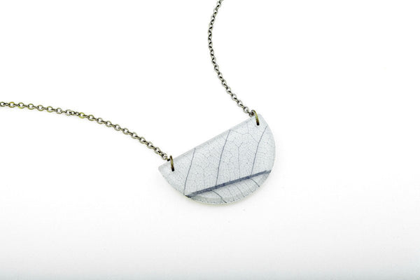 Fossil Leaf White Necklace - Half Circle