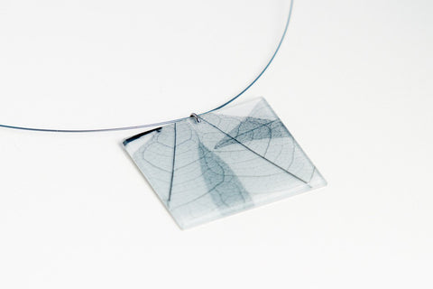 Fossil Leaf White Necklace - Lrg Square