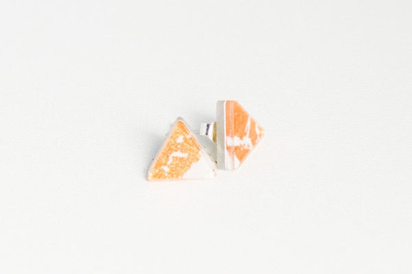 Gild Copper White Stud Earrings - Triangle