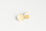 Gild Gold White Stud Earrings - Circle