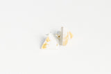 Gild Gold White Stud Earrings - Triangle