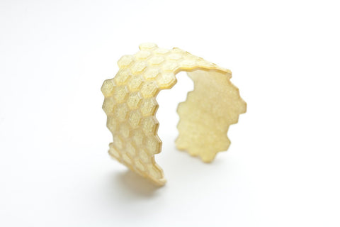 Pure Gold Honeycomb Cuff - Narrow