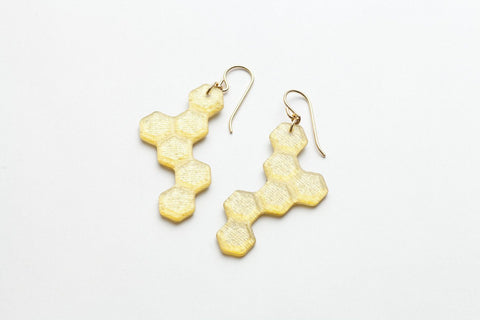 Pure Gold Honeycomb Earrings - Long