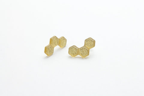 Pure Gold Honeycomb Earrings - Stud