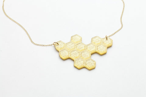 Pure Gold Honeycomb Necklace - Long