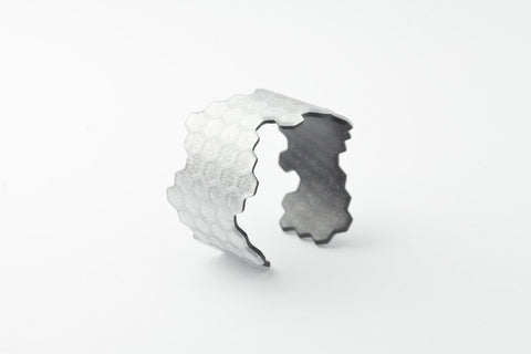 Pure Silver Honeycomb Cuff - Narrow