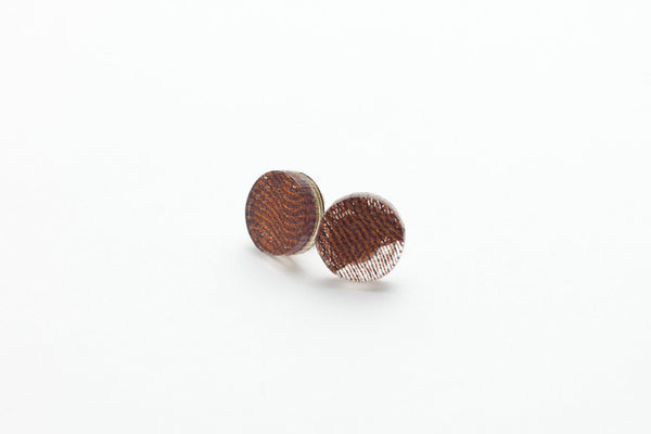 Swept Copper Stud Earrings - Circle