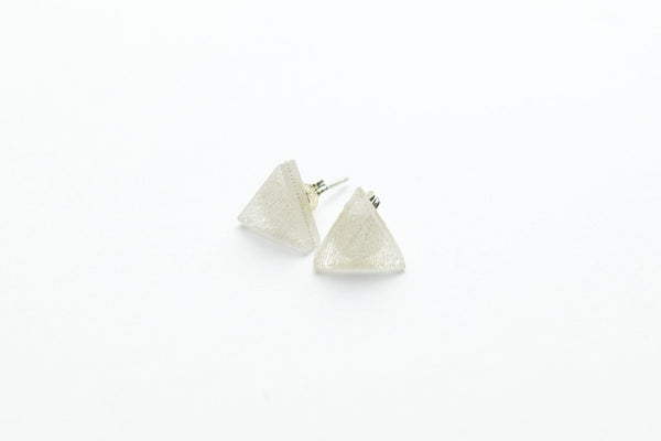 Swept Silver Stud Earrings - Triangle