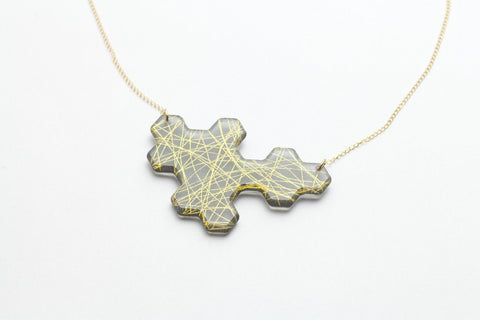 Wisp Gold Honeycomb Necklace - Long