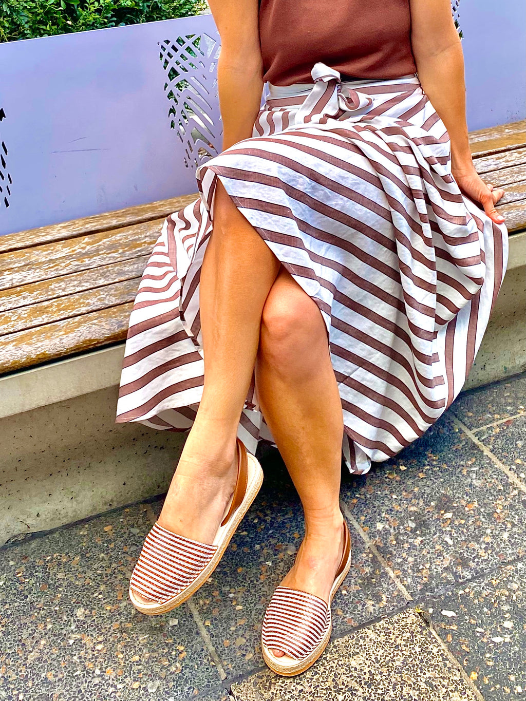 Stripy espadrilles paired with striped linen tercel skirt and cacao knit singlet