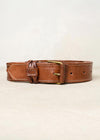Leather trouser belt. Made in Morocco. Sizes small and large. Width 4cm. Colour dark tan.