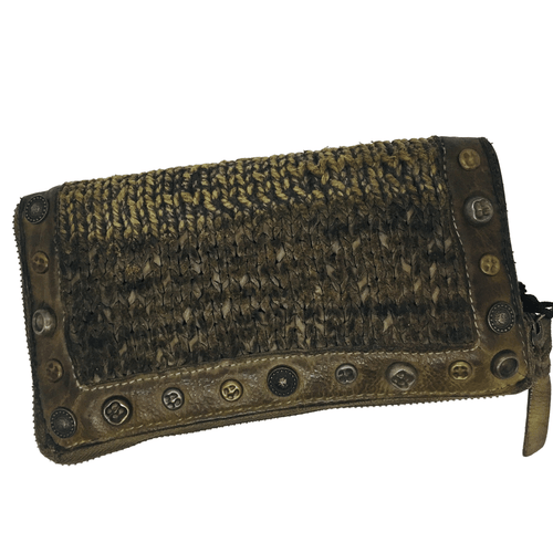 Interesting texture and use of knitted strips of leather as well as plain leather. Studs also add interest. Zip closure with plenty of room for cards, coins, notes and phone., Khaki.