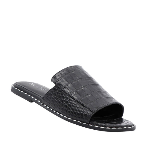 Black croc embossed leather slides