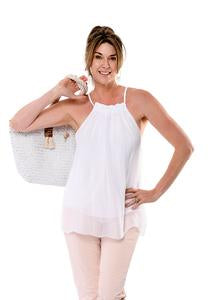 Silk fully lined top with drawstring neck exposing shoulders. Two sizes SM and ML. Colour blush.