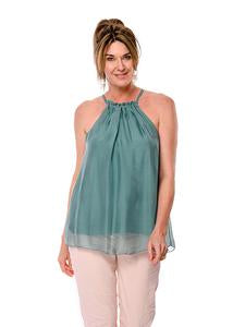 Silk fully lined top with drawstring neck exposing shoulders. Two sizes SM and ML. Colour fern.