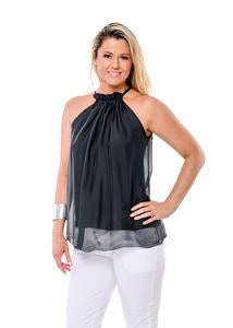 Silk fully lined top with drawstring neck exposing shoulders. Two sizes SM and ML. Colour granite.