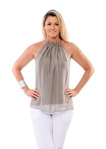 Silk fully lined top with drawstring neck exposing shoulders. Two sizes SM and ML. Colour cappuccino.