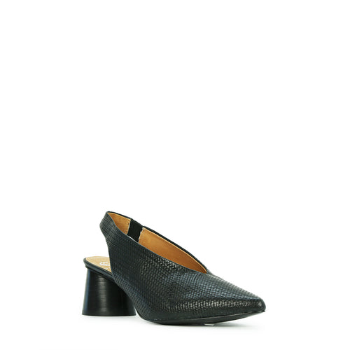 Embossed black leather sling back with round chunky heel and pointed toe