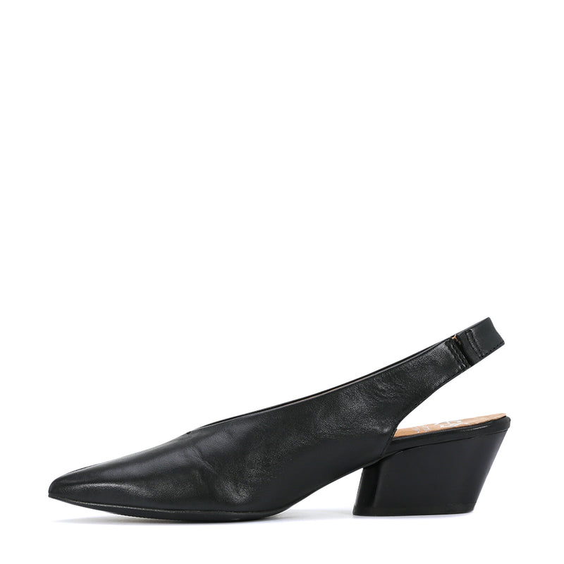 A very versatile little sling back. This beautifully shaped toe with it's V front is suitable for many foot shapes particularly a broad foot. The 4cm stacked heel is a comfortable height for most wearers and is particularly popular as a corporate work shoe. Colours  -  Black