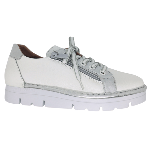 Super comfortable sneaker. Removeable foot  bed. Orthotic suitable. Easy zip entry and laces. White with silver. Made in Spain.